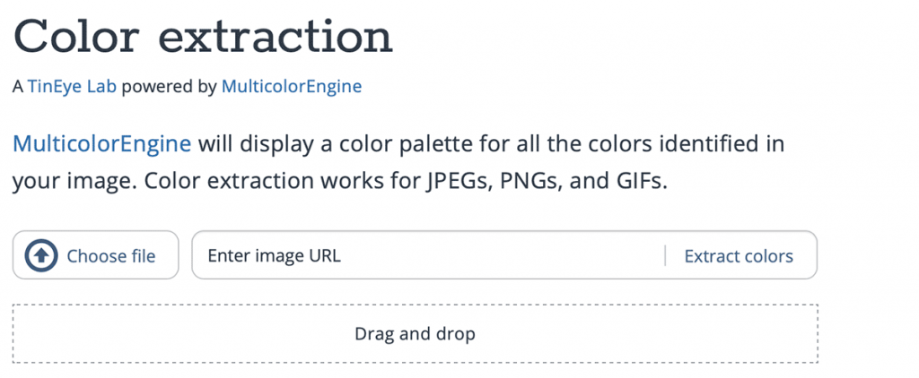 Screenshot of the TinEye Color extraction tool page