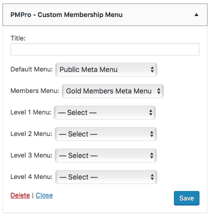 PMPro Custom Membership Menu