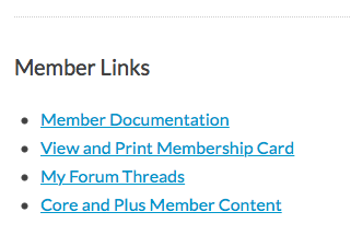 Member Links example screenshot from Membership Account page