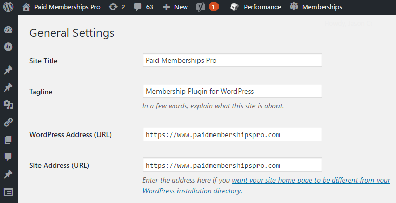 Screenshot of WordPress Paid Membership Pro general settings to change WordPress Address URL and Site URL