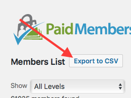 Screenshot of how to Export Members List to CSV