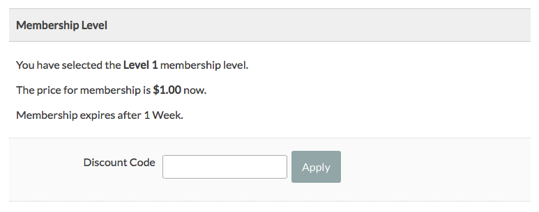 Screenshot of the result of coding to always show discount code field with Paid Membership Pro