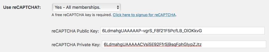 Screenshot to Configure PMPro to use reCAPTCHA