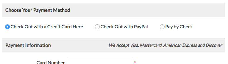 Screenshot Choose Payment Method with all three options