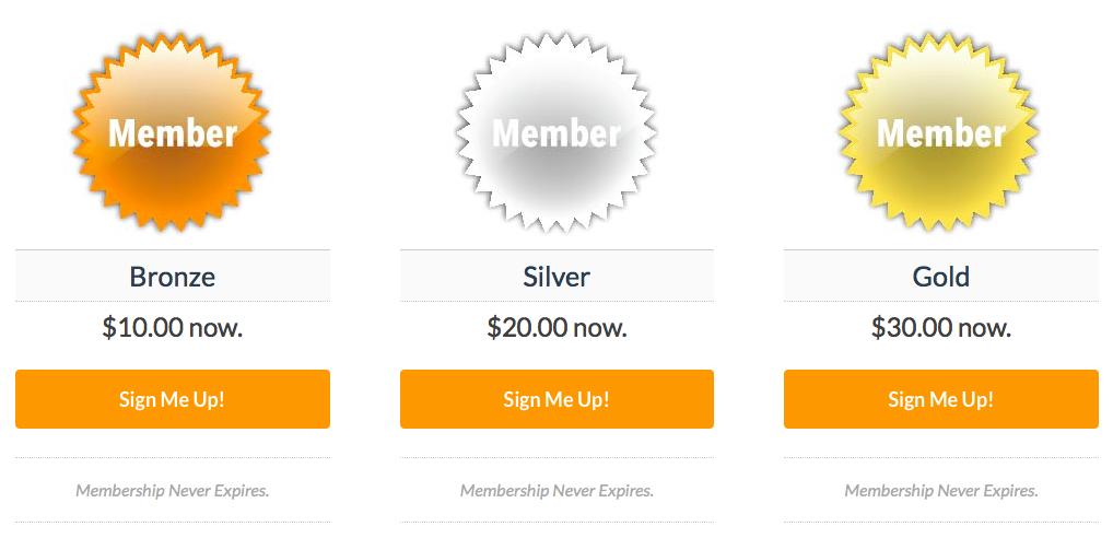 Membership Badges on a Three Column Layout