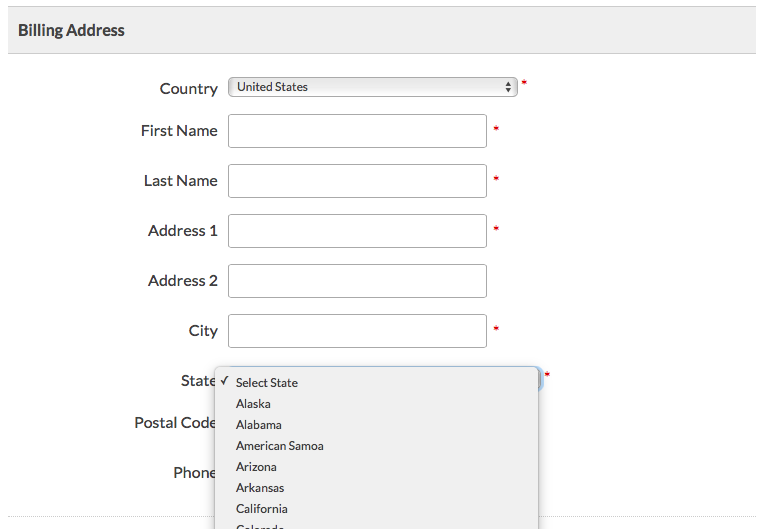 United States dropdown selection