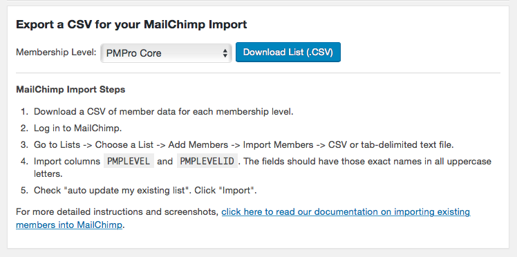 Screenshot to show Export a CSV for your MailChimp Import