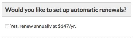 Screenshot asking members to set up automatic renewals