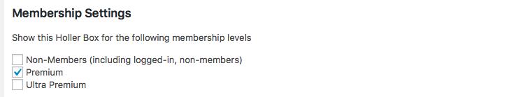 Screenshot of Membership Settings for Holler Box in PMPro