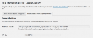 Admin Settings for Receiving Data via Zapier Integration for Paid Memberships Pro