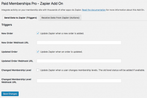Admin Settings for Sending Data via Zapier Integration for Paid Memberships Pro