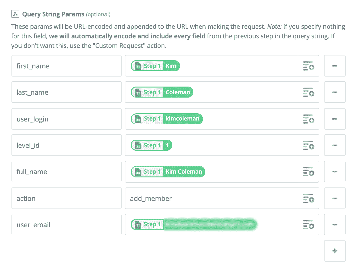 Zapier Action: Add Querystring Parameters