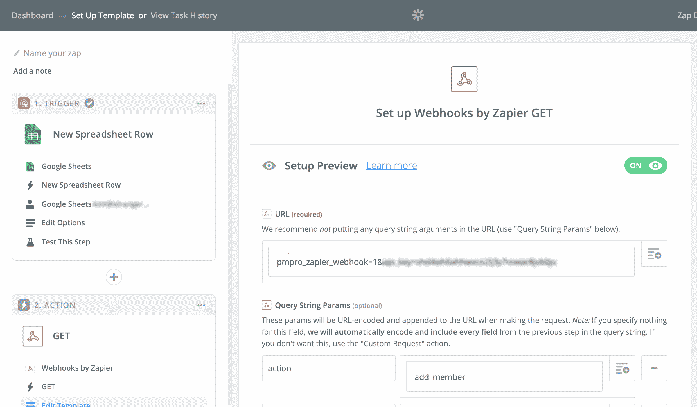 Zapier Action: Setup Webhooks