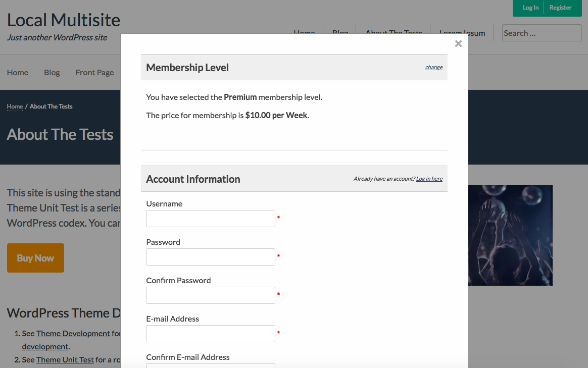 WordPress Member Signup or Checkout in Modal or Popup Window