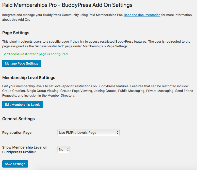 PMPro BuddyPress Settings Page