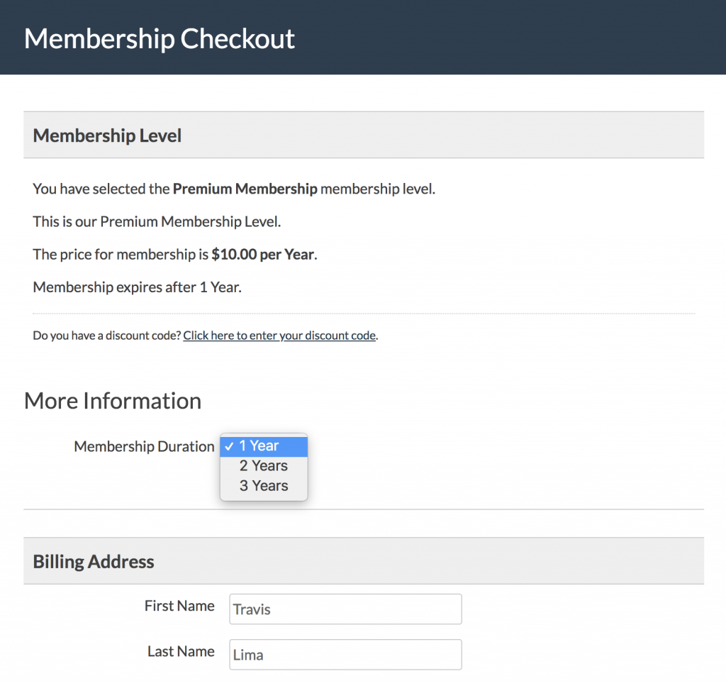 Screenshot of the Membership Checkout page with code recipe