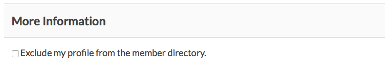 """Exclude my profile from the member directory"" field at checkout."