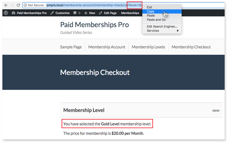Screenshot of admin copying the URL of a Paid Memberships Pro Checkout page