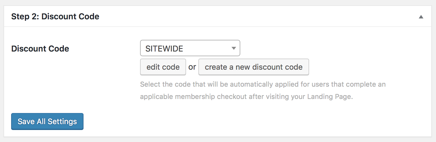 Sitewide Sales Step 2: Discount Code