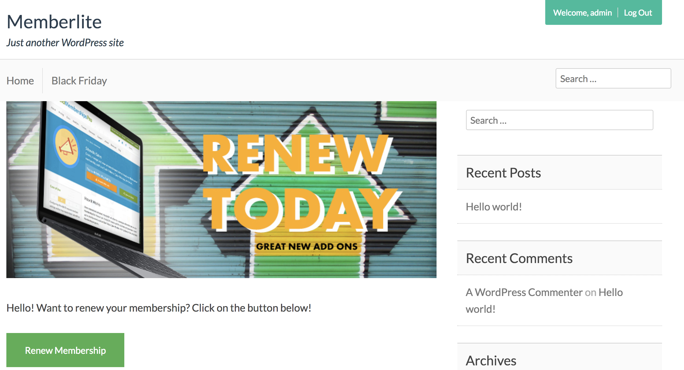 "Insert a ""Renew Membership"" button via custom shortcode"