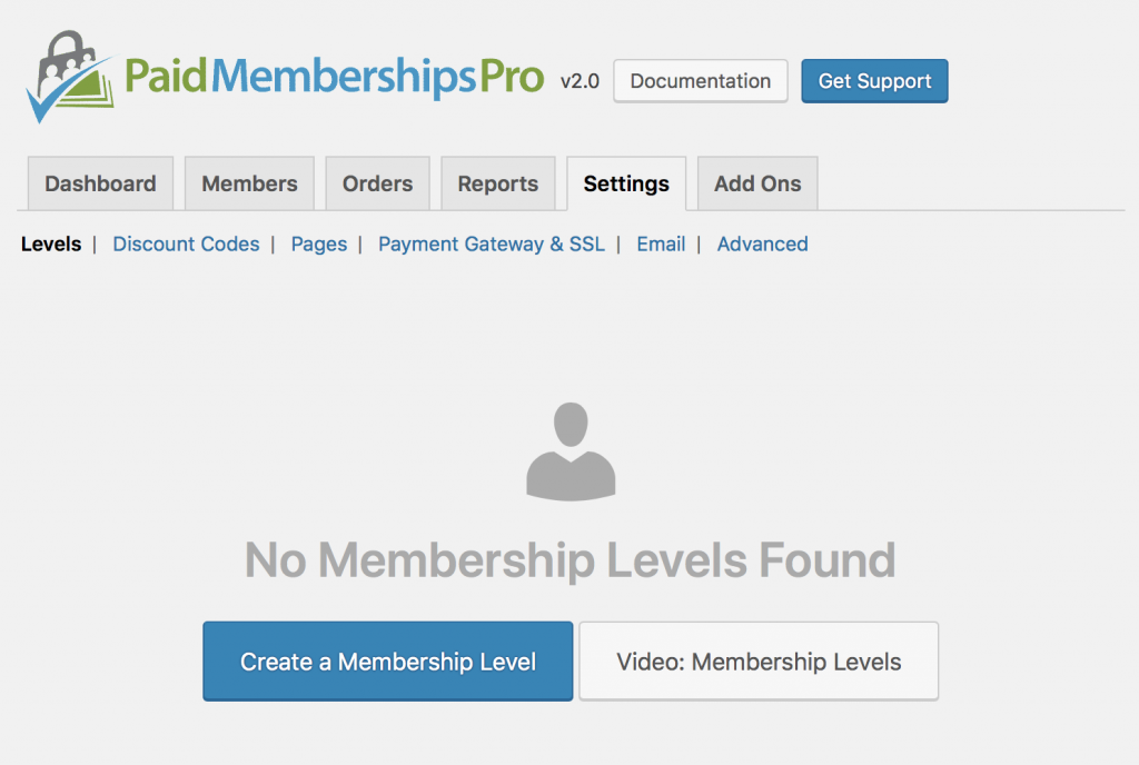 Settings Page: Membership Levels (new install)