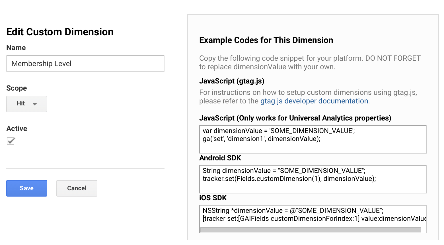 Custom Dimension for Membership Level in Google Analytics
