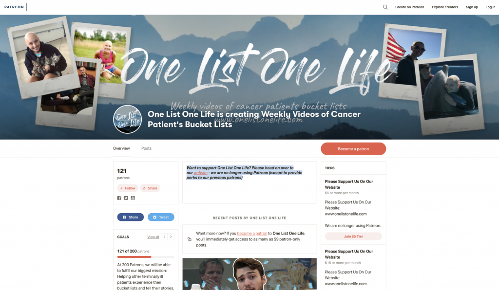 One List One Life Patreon Page