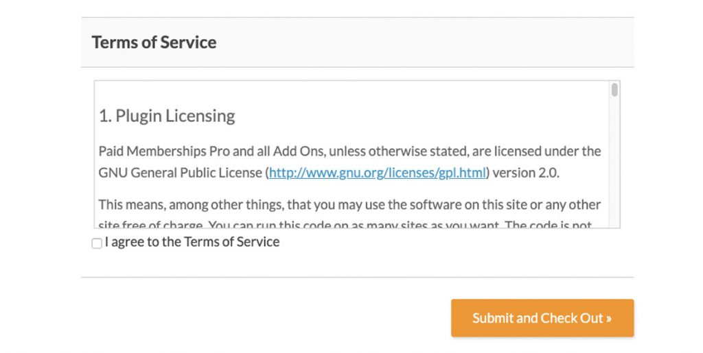 Terms of Service - Checkout page