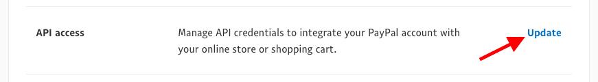 PayPal Account Settings: API Access
