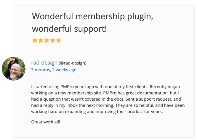 Screenshot of what customers are saying about PMPro