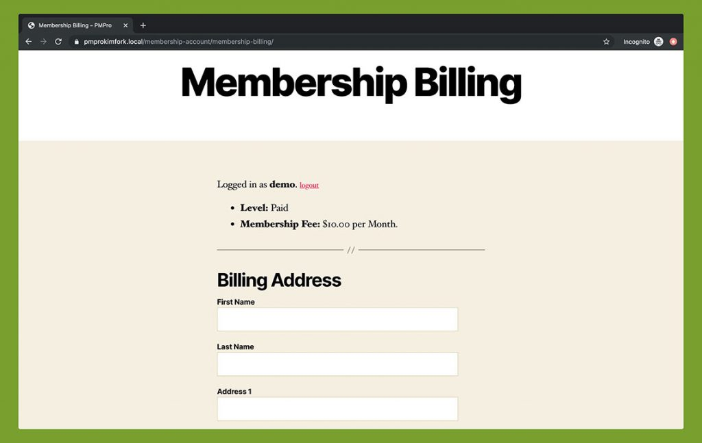 Membership Billing - Twenty Twenty Theme