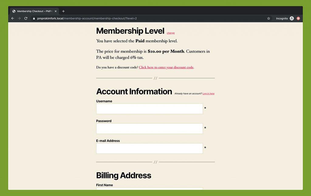 Membership Checkout - Twenty Twenty Theme