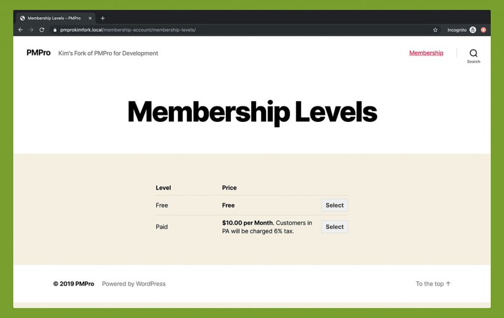 Membership Levels - Twenty Twenty Theme