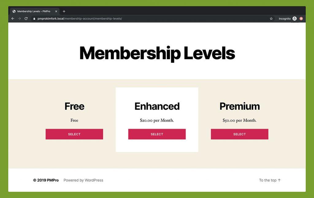 Membership Advanced Levels Shortcode - Twenty Twenty Theme