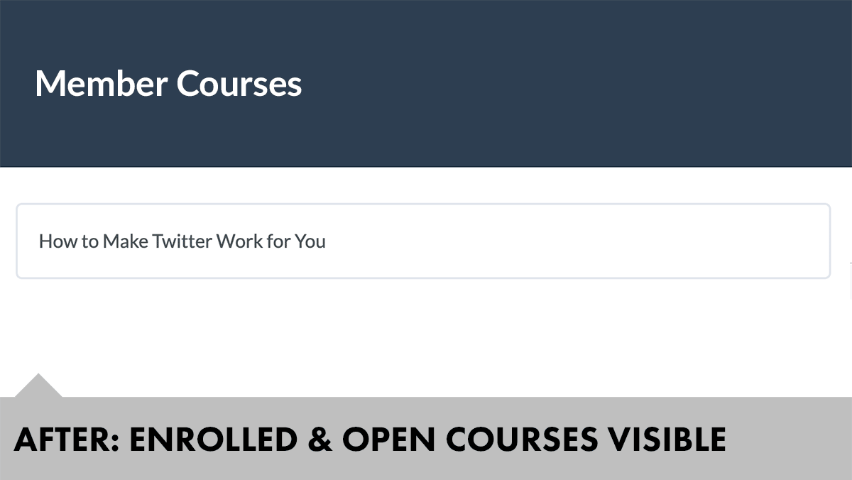Filtered course list for member's available courses