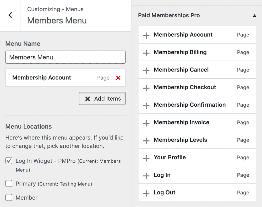 Customize > Menus > Paid Memberships Pro section