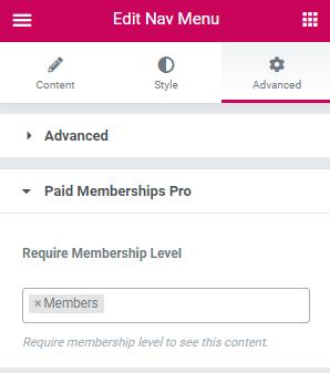 Elementor Nav Menu Widget > Advanced Tab > Paid Memberships Pro section