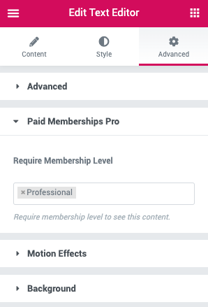"Elementor Advanced Tab ""Paid Memberships Pro"" settings."