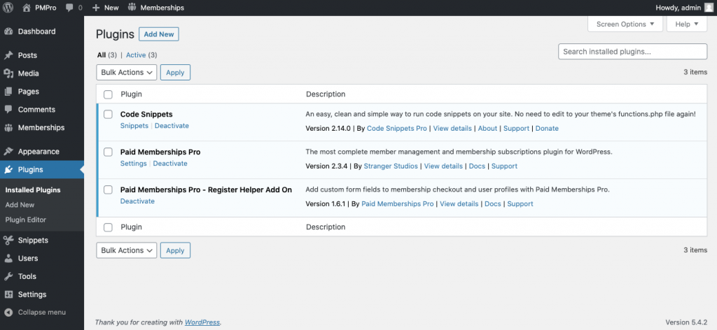 WordPress Dashboard screenshot. Displaying Paid Memberships Pro, Register Helper, and the Code Snippets plugin.
