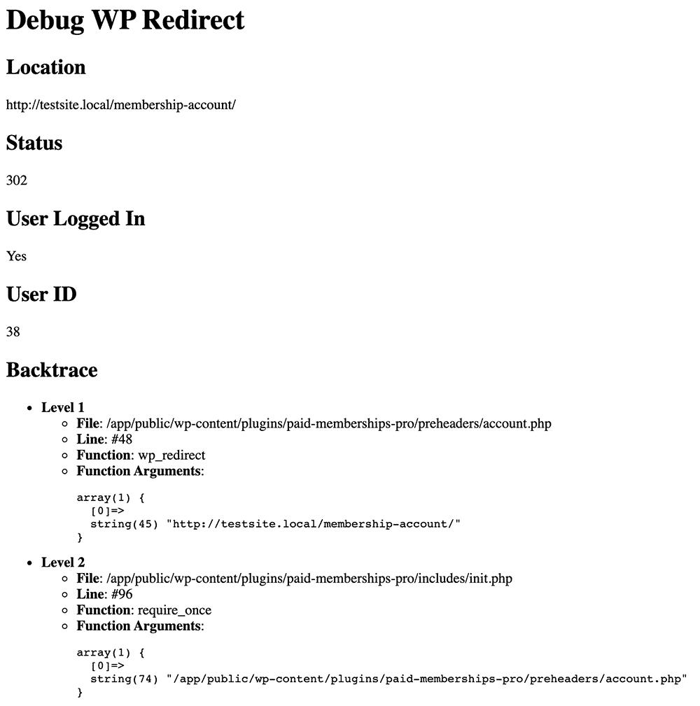 Debug report using the Debug WP Redirect plugin
