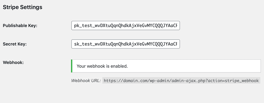 Stripe Gateway Settings: Webhook is Enabled
