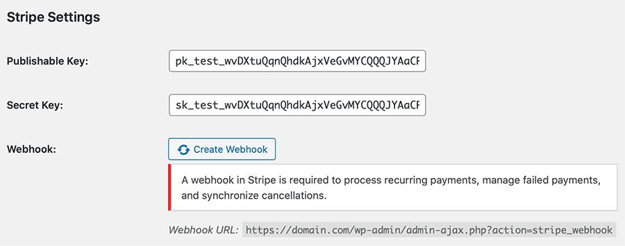 Stripe Gateway Settings: Create Webhook Button