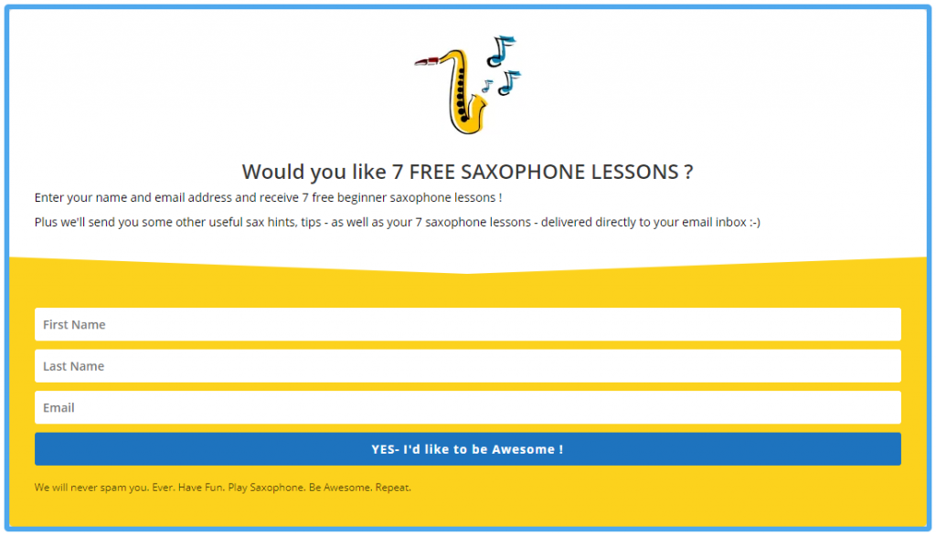Opt in for free saxophone lessons