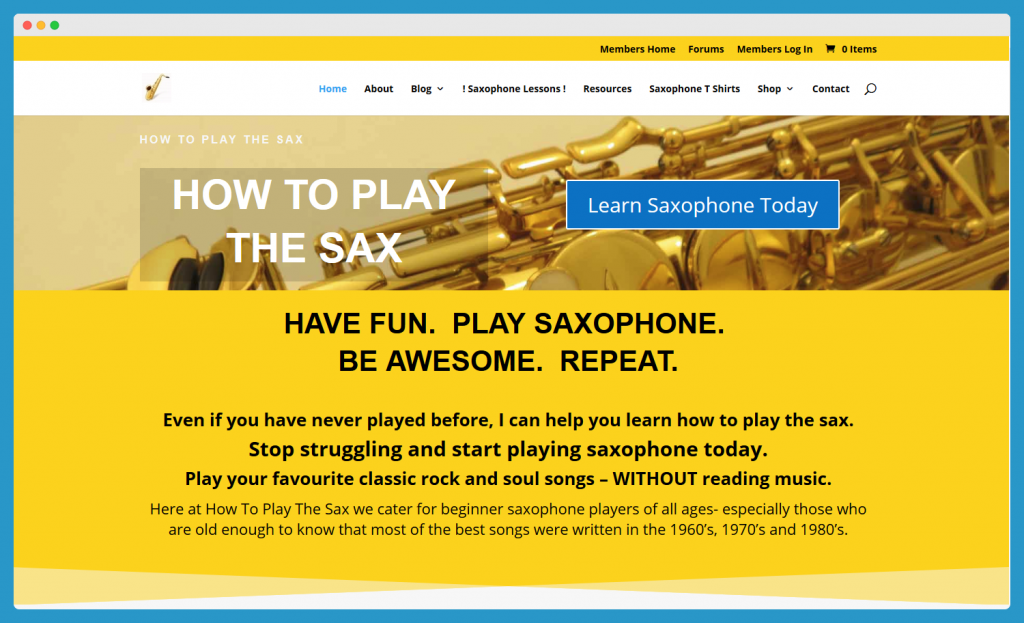 Homepage How to play the sax with PMPro