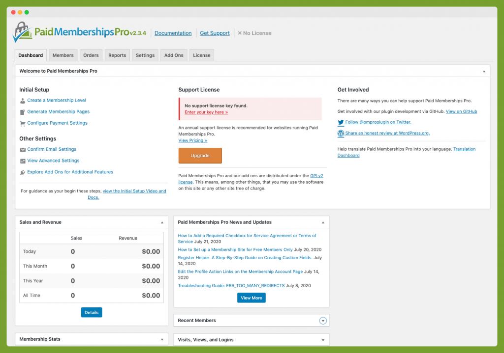 Screenshot of Memberships Dashboard without a License Key Activated