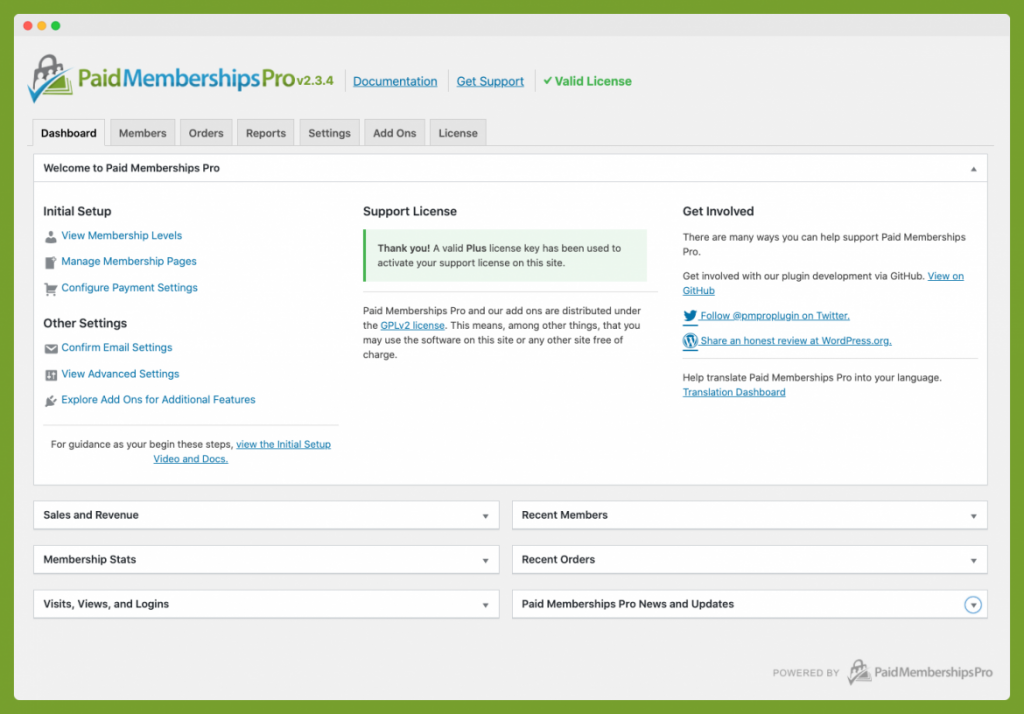 Screenshot of Memberships Dashboard with a License Key Activated