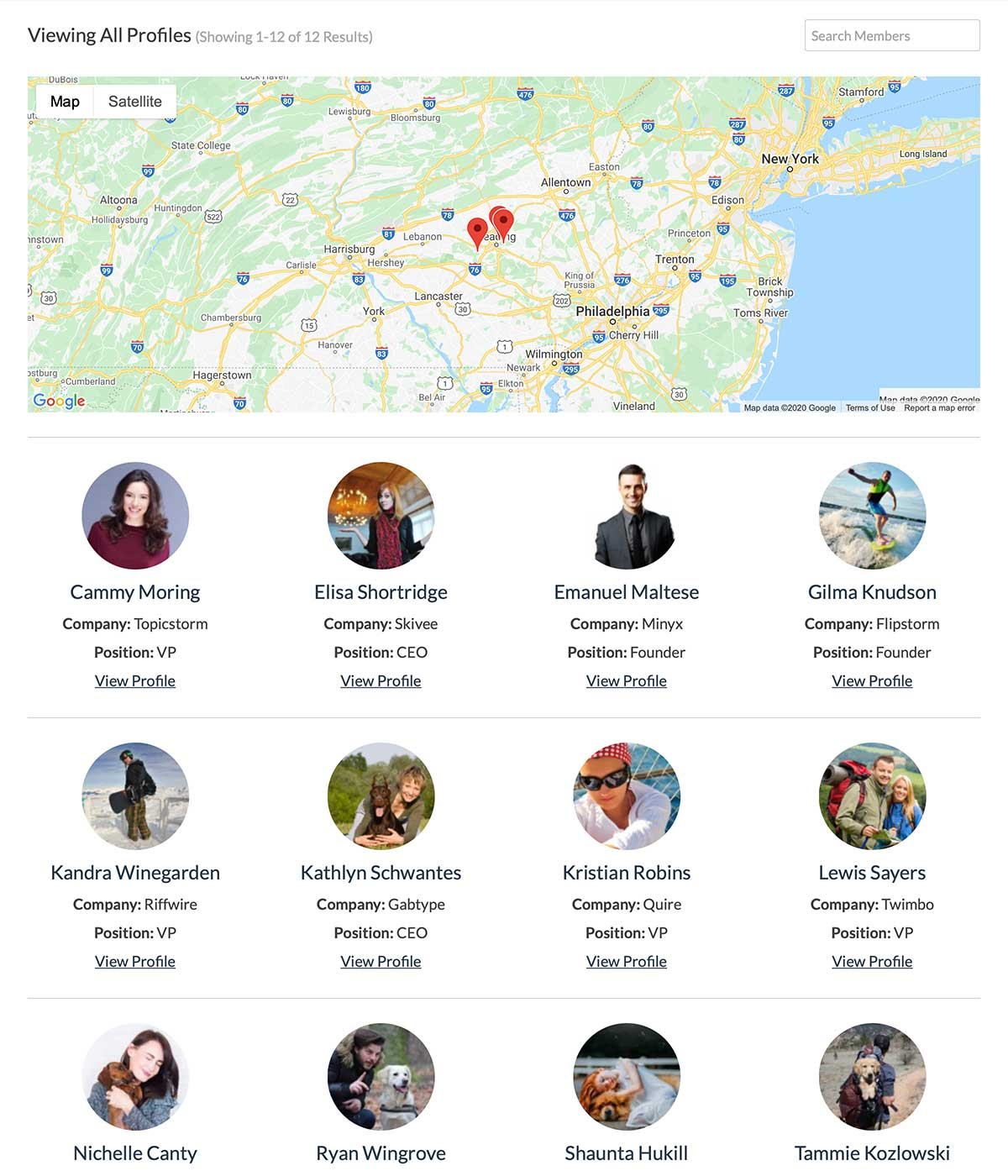 Membership Map for all members in the Member Directory frontend page