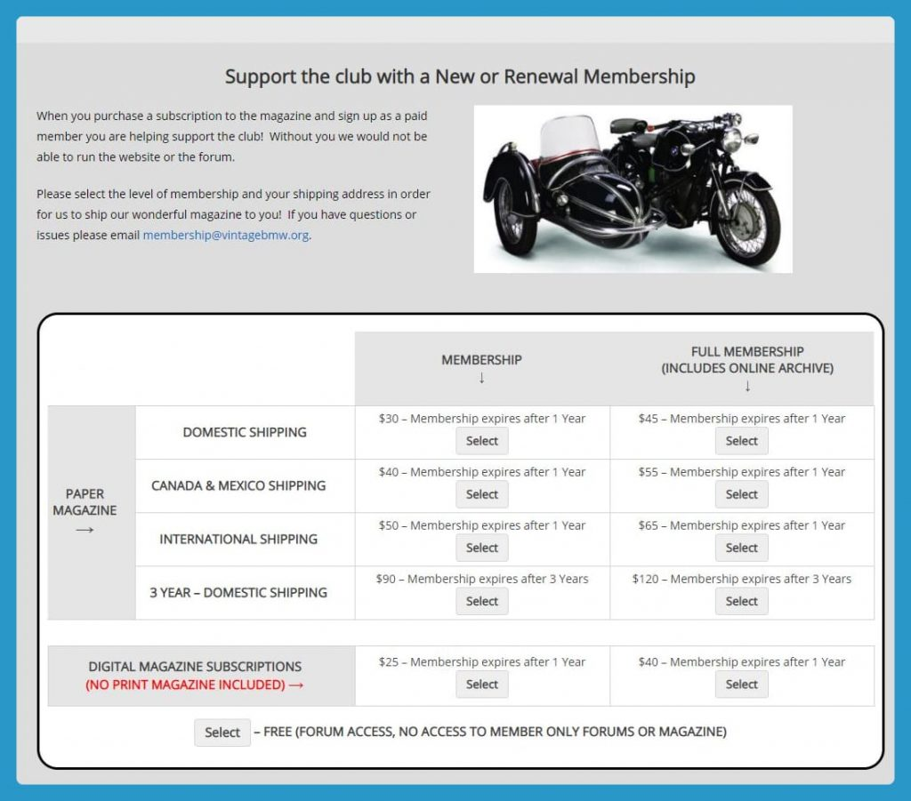 Vintage BMW Motorcylce Owners site Membership Levels