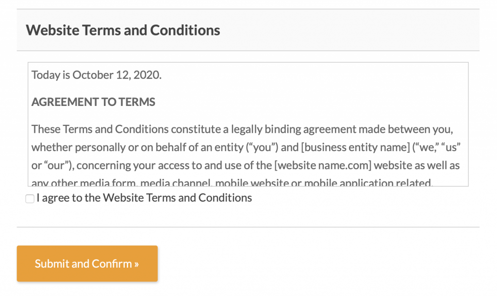 Website Agreement to Terms and Conditions