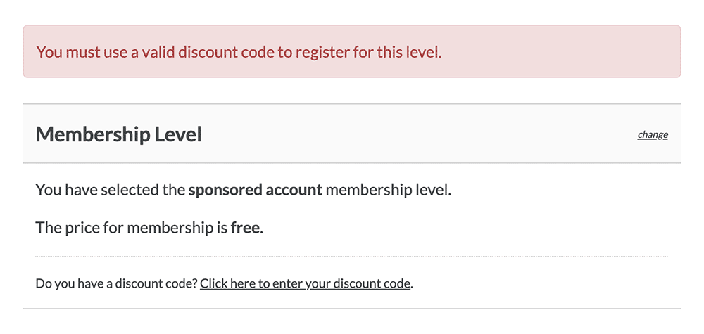 Screenshot of a failed membership checkout when no sponsor code was used.
